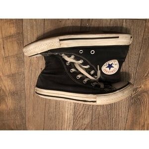 Childrens size black & white converse hightops